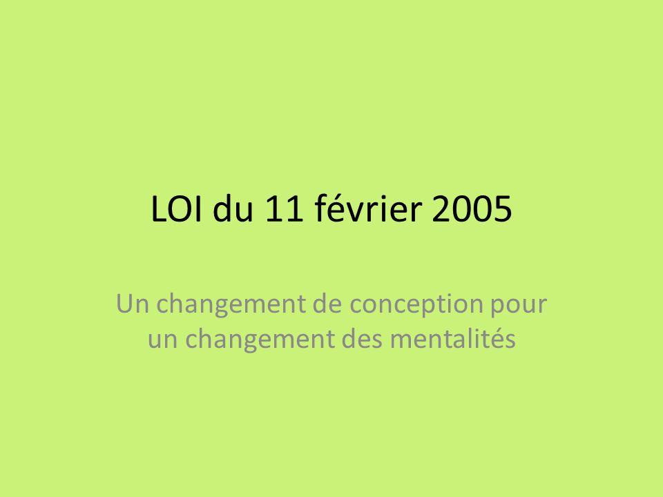 LOI du 11 février 2005 Un changement de conception pour un changement des mentalités