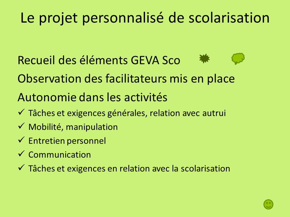 Le projet personnalisé de scolarisation Recueil des éléments GEVA Sco Observation des facilitateurs mis en place Autonomie dans les activités Tâches e