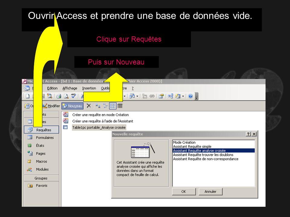 Ouvrir Access et prendre une base de données vide. Clique sur Requêtes Puis sur Nouveau