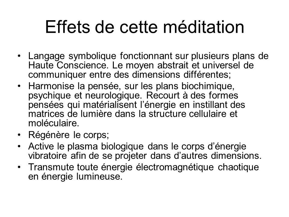 Effets de cette méditation Langage symbolique fonctionnant sur plusieurs plans de Haute Conscience.