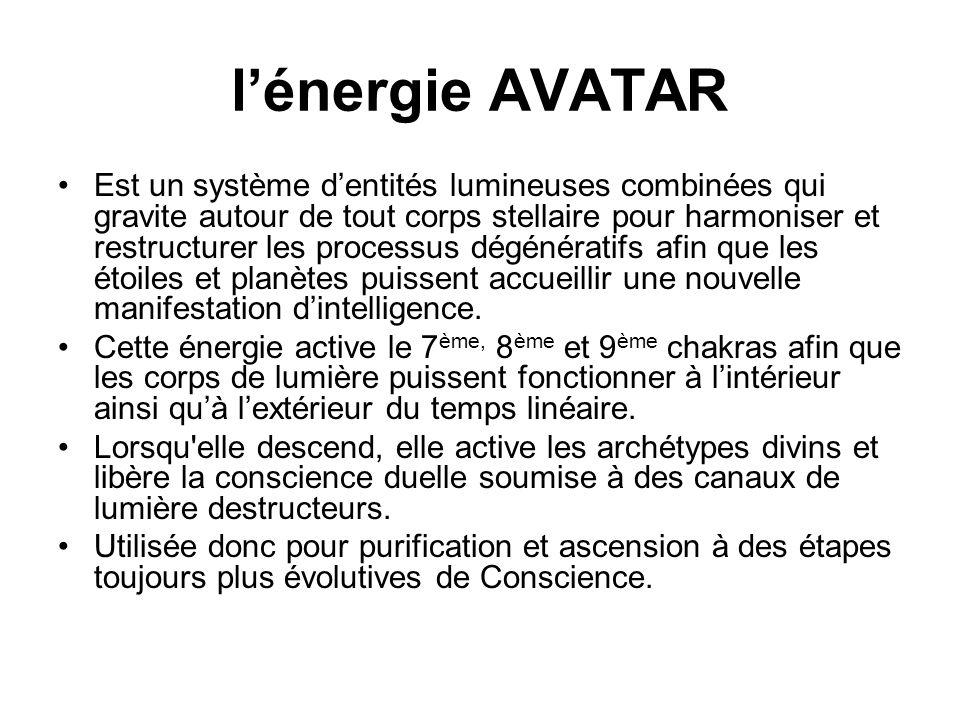 lénergie AVATAR Est un système dentités lumineuses combinées qui gravite autour de tout corps stellaire pour harmoniser et restructurer les processus dégénératifs afin que les étoiles et planètes puissent accueillir une nouvelle manifestation dintelligence.