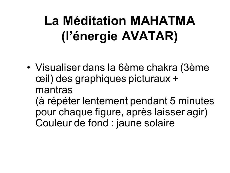 La Méditation MAHATMA (lénergie AVATAR) Visualiser dans la 6ème chakra (3ème œil) des graphiques picturaux + mantras (à répéter lentement pendant 5 minutes pour chaque figure, après laisser agir) Couleur de fond : jaune solaire