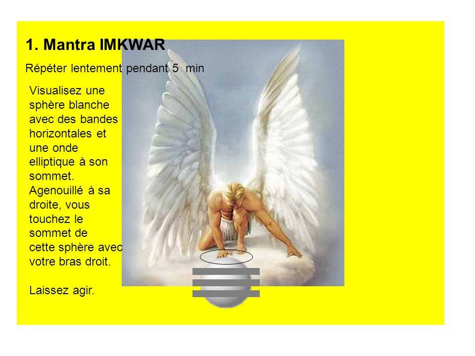 1.Mantra IMKWAR Répéter lentement pendant 5 min Visualisez une sphère blanche avec des bandes horizontales et une onde elliptique à son sommet. Agenou