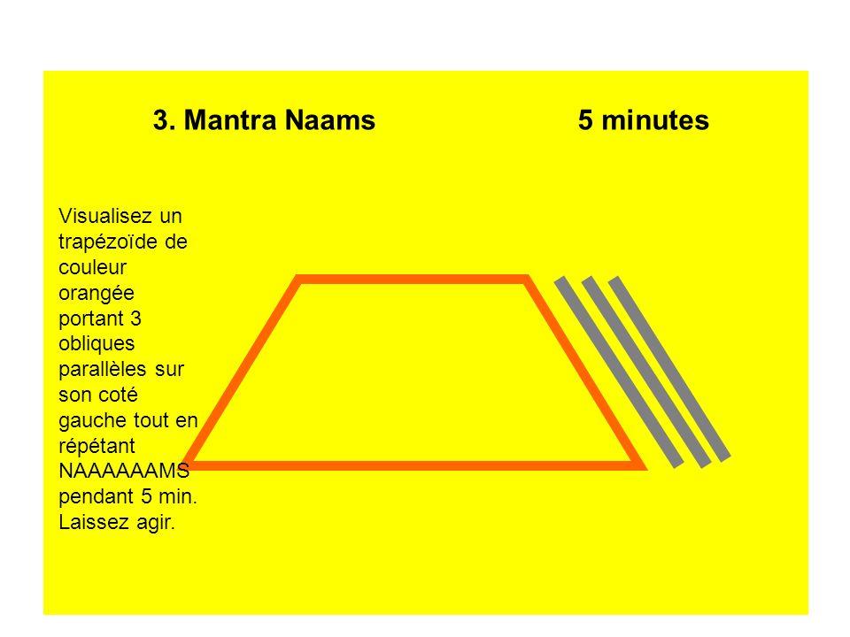 3. Mantra Naams5 minutes Visualisez un trapézoïde de couleur orangée portant 3 obliques parallèles sur son coté gauche tout en répétant NAAAAAAMS pend