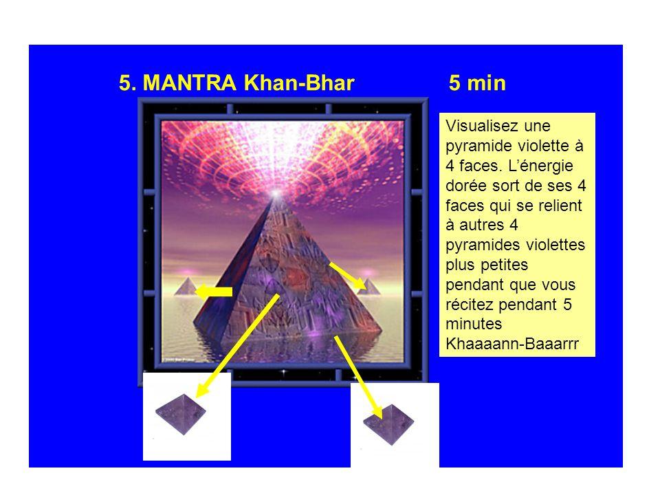 5. MANTRA Khan-Bhar5 min Visualisez une pyramide violette à 4 faces. Lénergie dorée sort de ses 4 faces qui se relient à autres 4 pyramides violettes