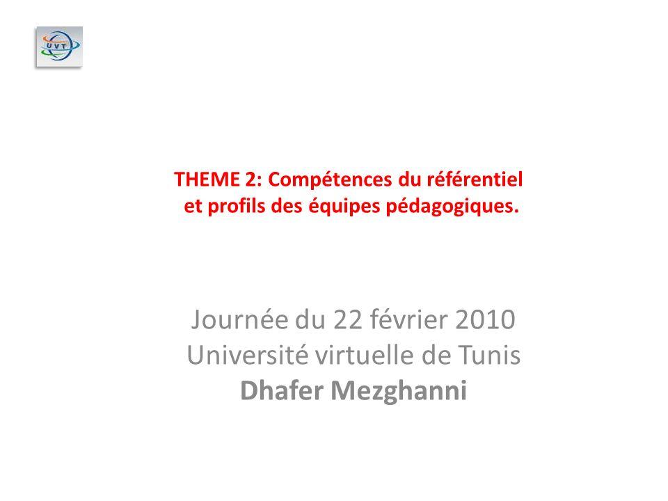 Journée du 22 février 2010 Université virtuelle de Tunis Dhafer Mezghanni THEME 2: Compétences du référentiel et profils des équipes pédagogiques.