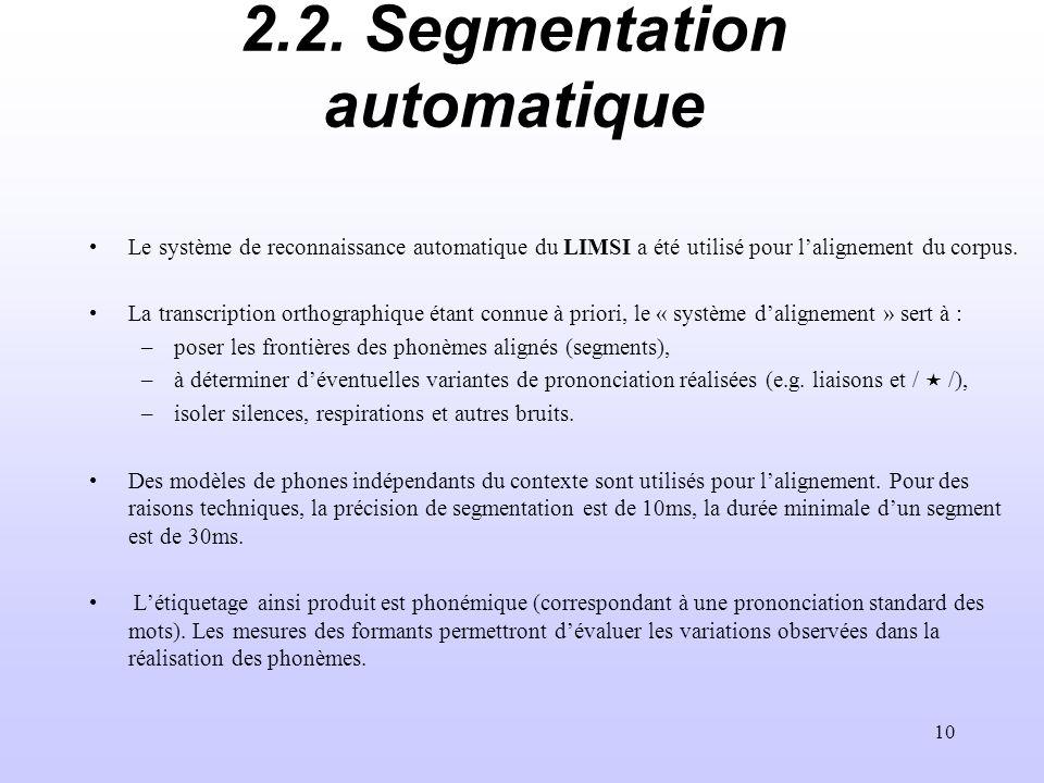 10 2.2. Segmentation automatique Le système de reconnaissance automatique du LIMSI a été utilisé pour lalignement du corpus. La transcription orthogra