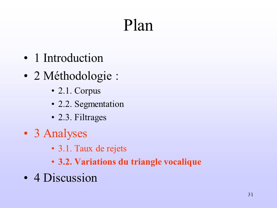 31 Plan 1 Introduction 2 Méthodologie : 2.1. Corpus 2.2. Segmentation 2.3. Filtrages 3 Analyses 3.1. Taux de rejets 3.2. Variations du triangle vocali