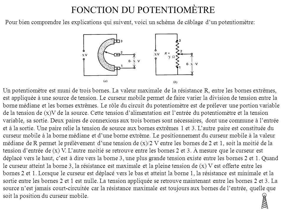 FONCTION DU POTENTIOMÈTRE Pour bien comprendre les explications qui suivent, voici un schéma de câblage dun potentiomètre: Un potentiomètre est muni d
