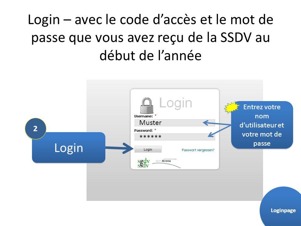 Login – avec le code daccès et le mot de passe que vous avez reçu de la SSDV au début de lannée Login Muster ****** 2 2 Entrez votre nom dutilisateur et votre mot de passe Loginpage