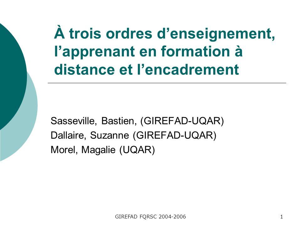 GIREFAD FQRSC 2004-20061 À trois ordres denseignement, lapprenant en formation à distance et lencadrement Sasseville, Bastien, (GIREFAD-UQAR) Dallaire, Suzanne (GIREFAD-UQAR) Morel, Magalie (UQAR)