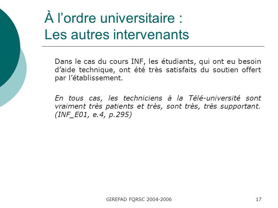 GIREFAD FQRSC 2004-200617 À lordre universitaire : Les autres intervenants Dans le cas du cours INF, les étudiants, qui ont eu besoin daide technique, ont été très satisfaits du soutien offert par létablissement.