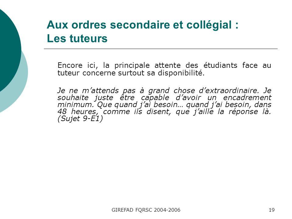GIREFAD FQRSC 2004-200619 Aux ordres secondaire et collégial : Les tuteurs Encore ici, la principale attente des étudiants face au tuteur concerne surtout sa disponibilité.