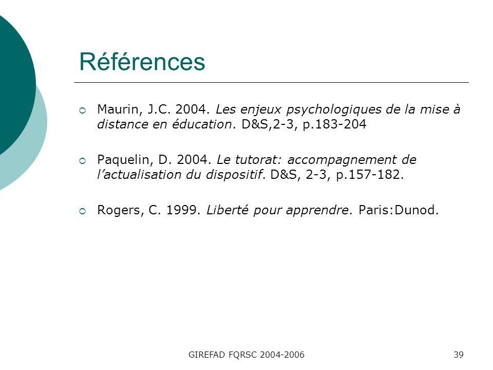GIREFAD FQRSC 2004-200639 Références Maurin, J.C. 2004.