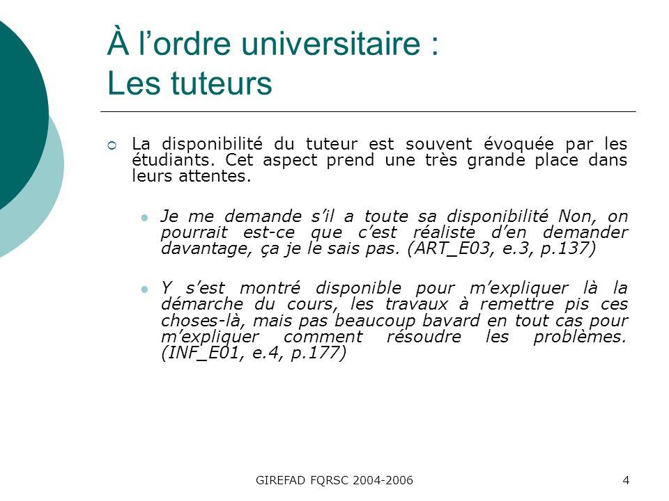 GIREFAD FQRSC 2004-20065 À lordre universitaire : Les tuteurs Dans le cas du cours SSN, toutes les étudiantes ont dailleurs identifié la personne-tutrice comme étant la principale source de soutien.