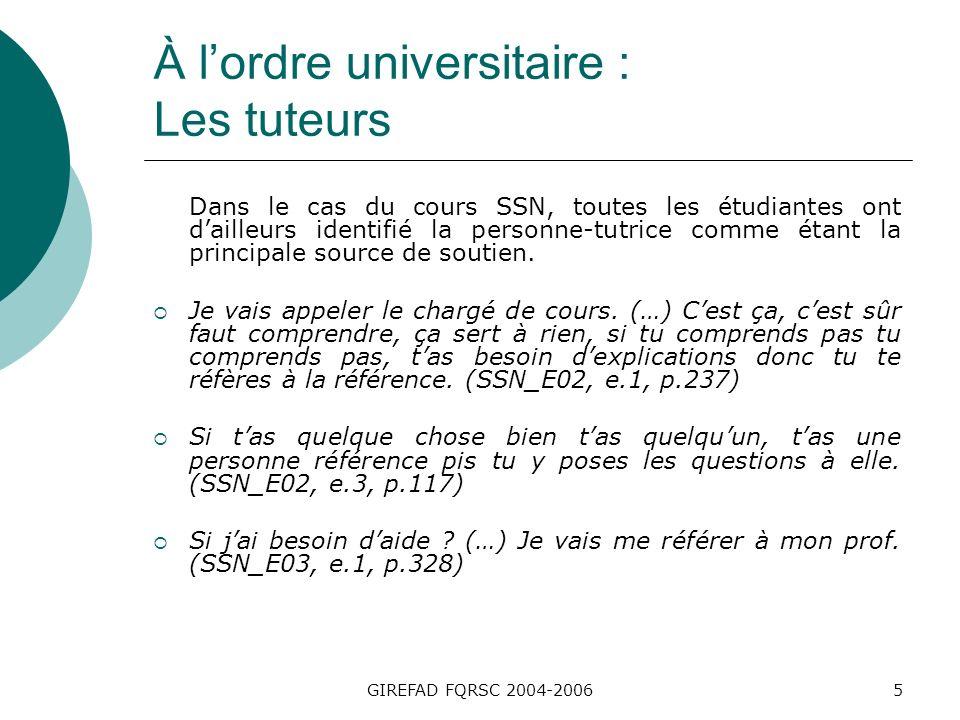 GIREFAD FQRSC 2004-20066 À lordre universitaire : Les tuteurs Dans ce cours, certains aspects ont cependant provoqué de linsatisfaction dans la relation avec la personne- tutrice, tels que le manque de rapidité dans le retour des rétroactions ou encore les lacunes dans le cheminement dapprentissage.