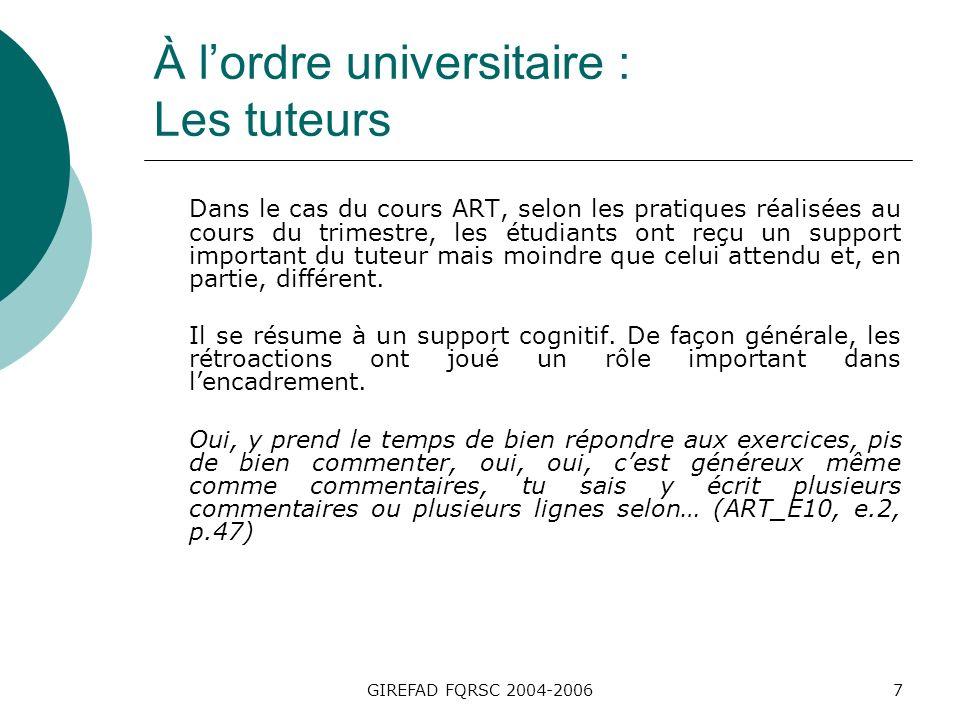 GIREFAD FQRSC 2004-20067 À lordre universitaire : Les tuteurs Dans le cas du cours ART, selon les pratiques réalisées au cours du trimestre, les étudiants ont reçu un support important du tuteur mais moindre que celui attendu et, en partie, différent.