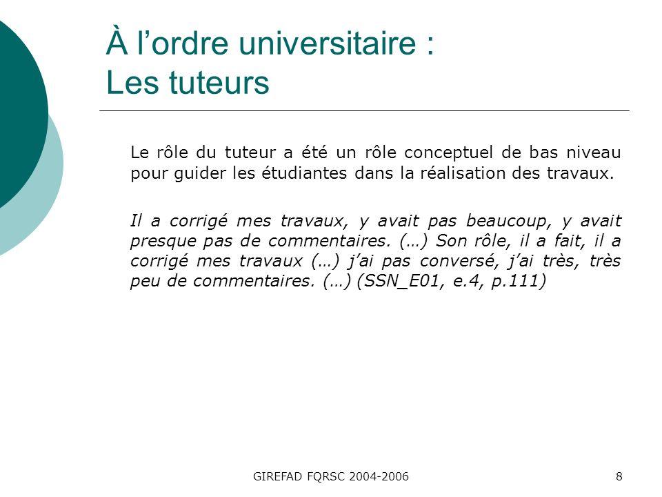 GIREFAD FQRSC 2004-20069 À lordre universitaire : Les tuteurs Dans lengagement conceptuel attendu, les sujets ont des attentes de bas niveau et lapprentissage est considéré sous cet angle.