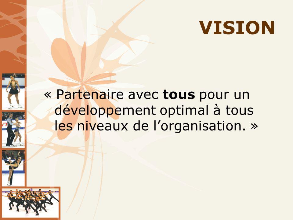 VISION « Partenaire avec tous pour un développement optimal à tous les niveaux de lorganisation. »