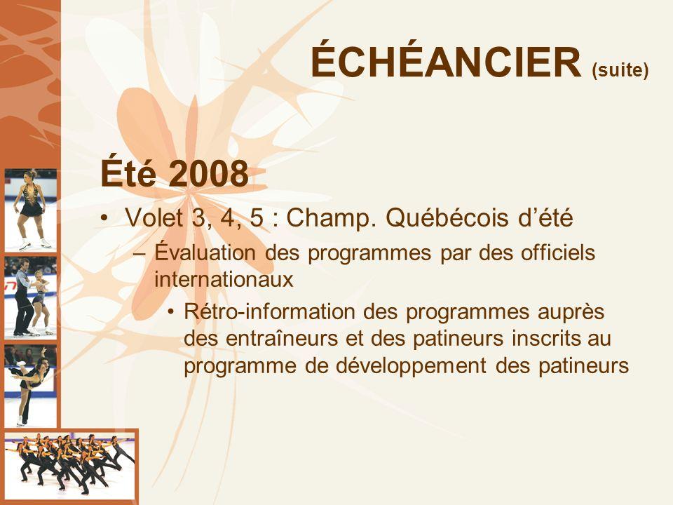 ÉCHÉANCIER (suite) Été 2008 Volet 3, 4, 5 : Champ.