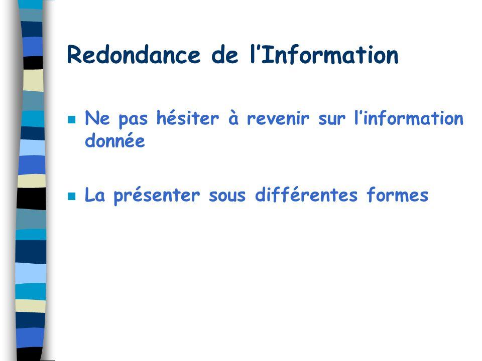 Redondance de lInformation n Ne pas hésiter à revenir sur linformation donnée n La présenter sous différentes formes