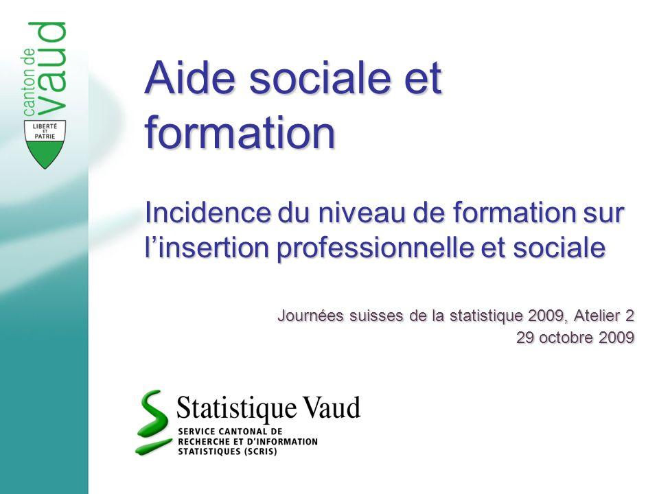 Aide sociale et formation Incidence du niveau de formation sur linsertion professionnelle et sociale Journées suisses de la statistique 2009, Atelier 2 29 octobre 2009