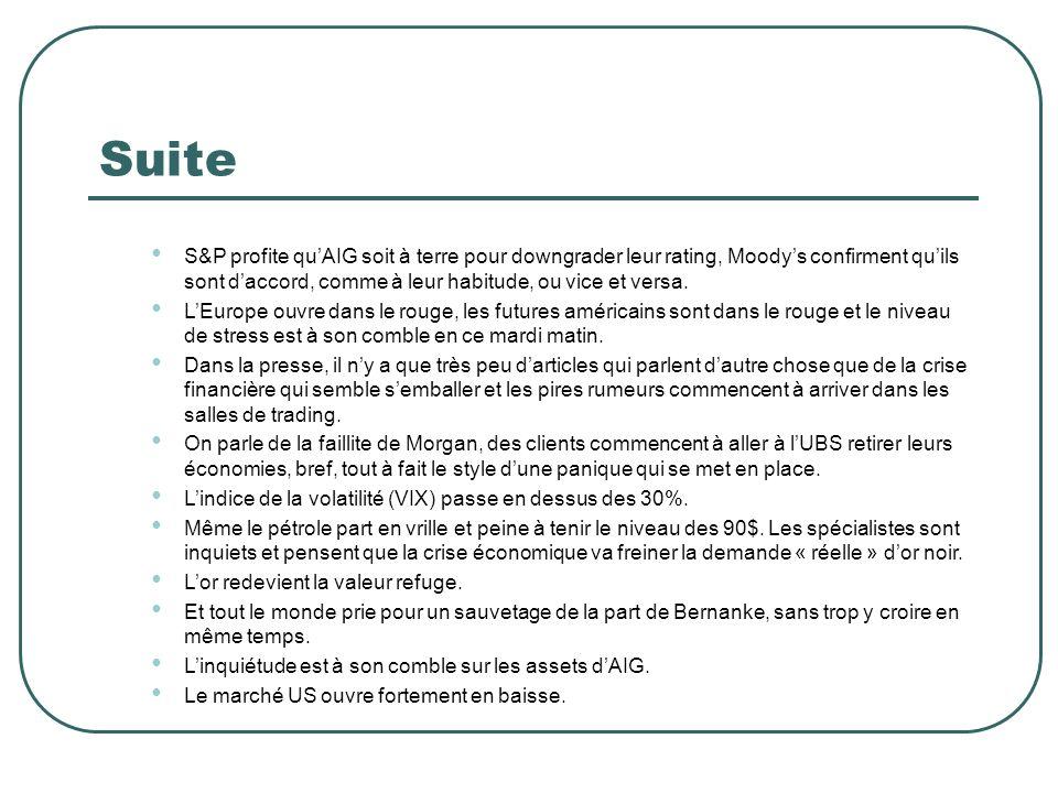 Suite S&P profite quAIG soit à terre pour downgrader leur rating, Moodys confirment quils sont daccord, comme à leur habitude, ou vice et versa. LEuro