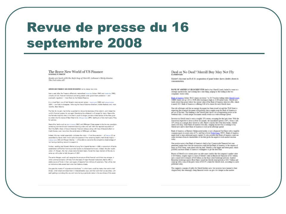 Revue de presse du 16 septembre 2008