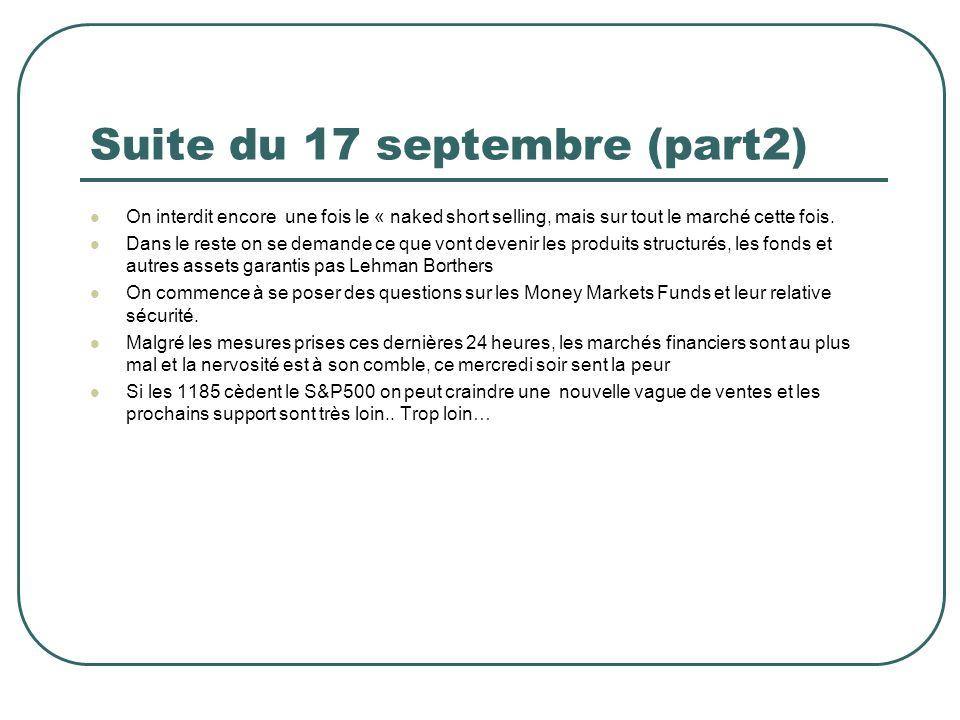 Suite du 17 septembre (part2) On interdit encore une fois le « naked short selling, mais sur tout le marché cette fois.