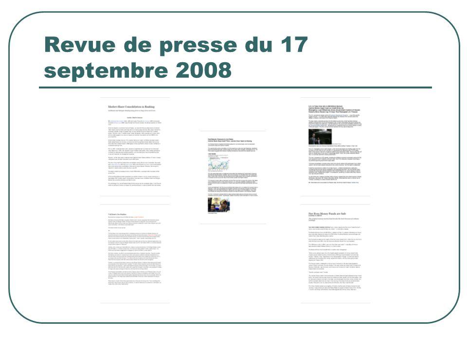 Revue de presse du 17 septembre 2008