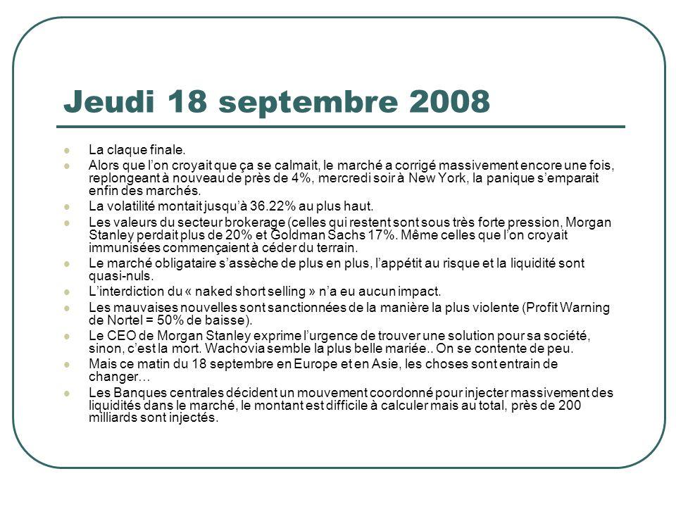 Jeudi 18 septembre 2008 La claque finale. Alors que lon croyait que ça se calmait, le marché a corrigé massivement encore une fois, replongeant à nouv
