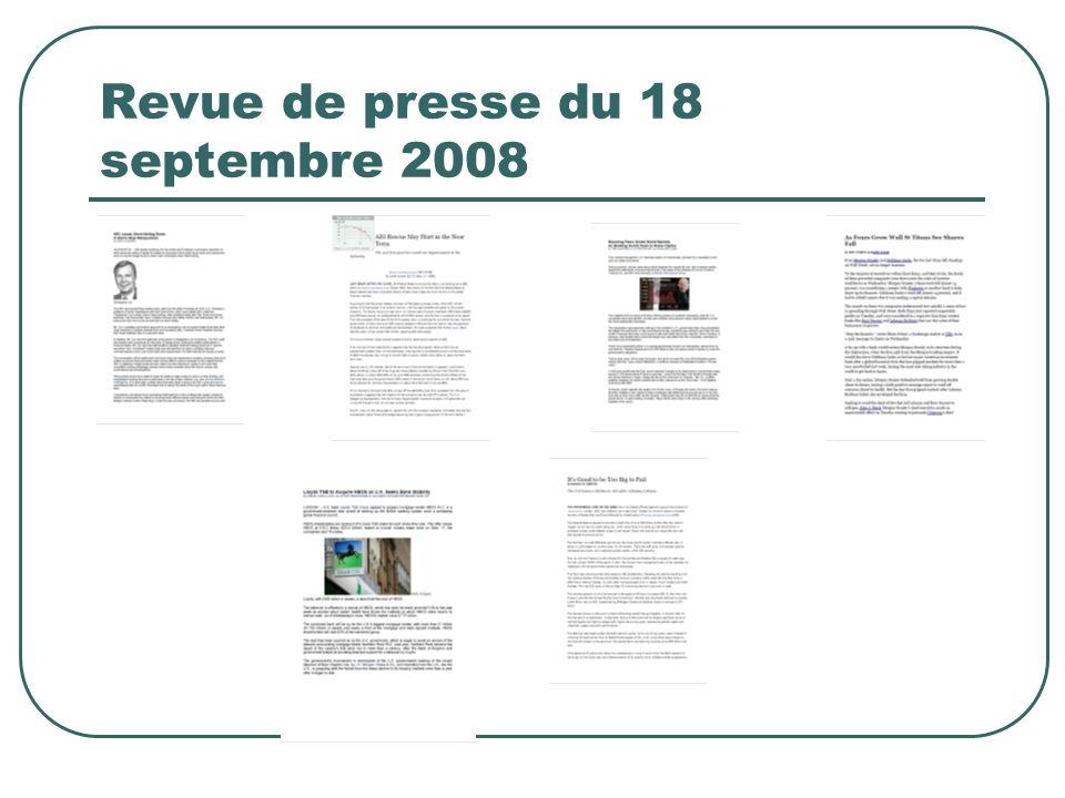 Revue de presse du 18 septembre 2008