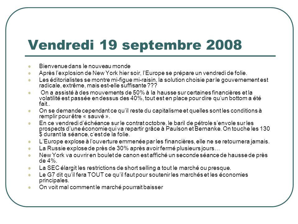Vendredi 19 septembre 2008 Bienvenue dans le nouveau monde Après lexplosion de New York hier soir, lEurope se prépare un vendredi de folie.
