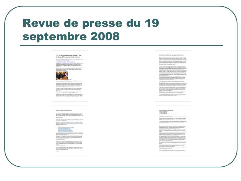 Revue de presse du 19 septembre 2008