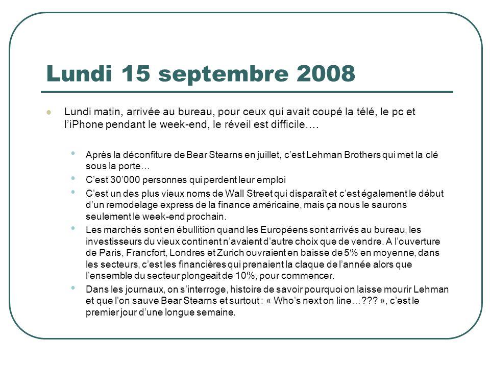 Lundi 15 septembre 2008 Lundi matin, arrivée au bureau, pour ceux qui avait coupé la télé, le pc et liPhone pendant le week-end, le réveil est diffici