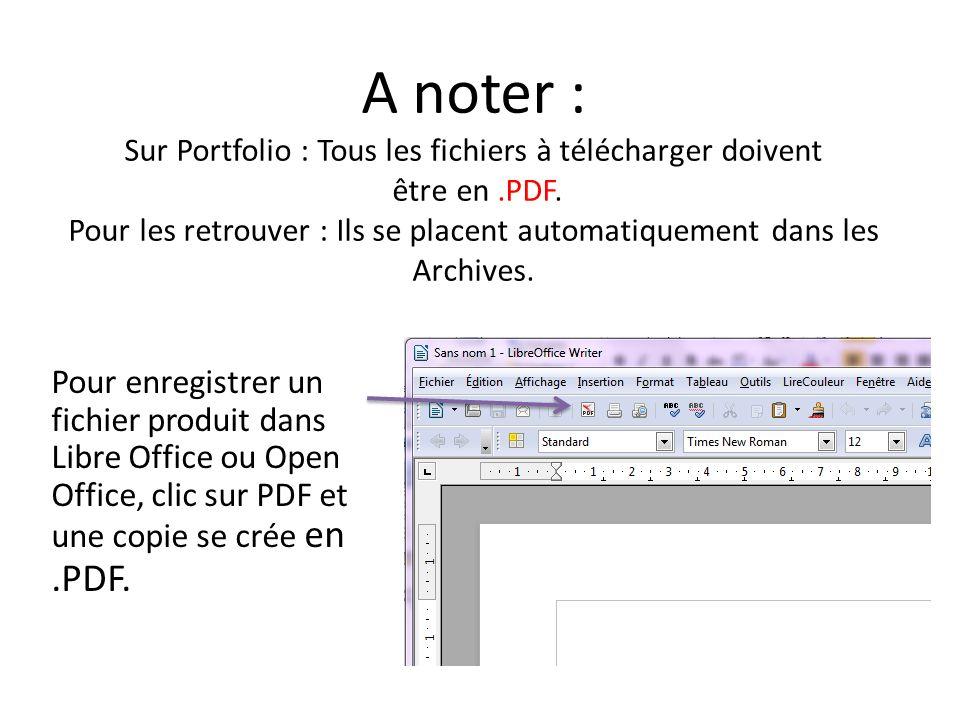 A noter : Sur Portfolio : Tous les fichiers à télécharger doivent être en.PDF. Pour les retrouver : Ils se placent automatiquement dans les Archives.
