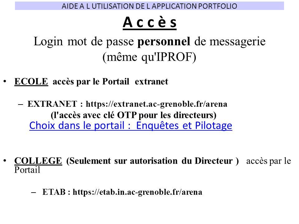 A c c è s Login mot de passe personnel de messagerie (même qu'IPROF) ECOLE accès par le Portail extranet – EXTRANET : https://extranet.ac-grenoble.fr/