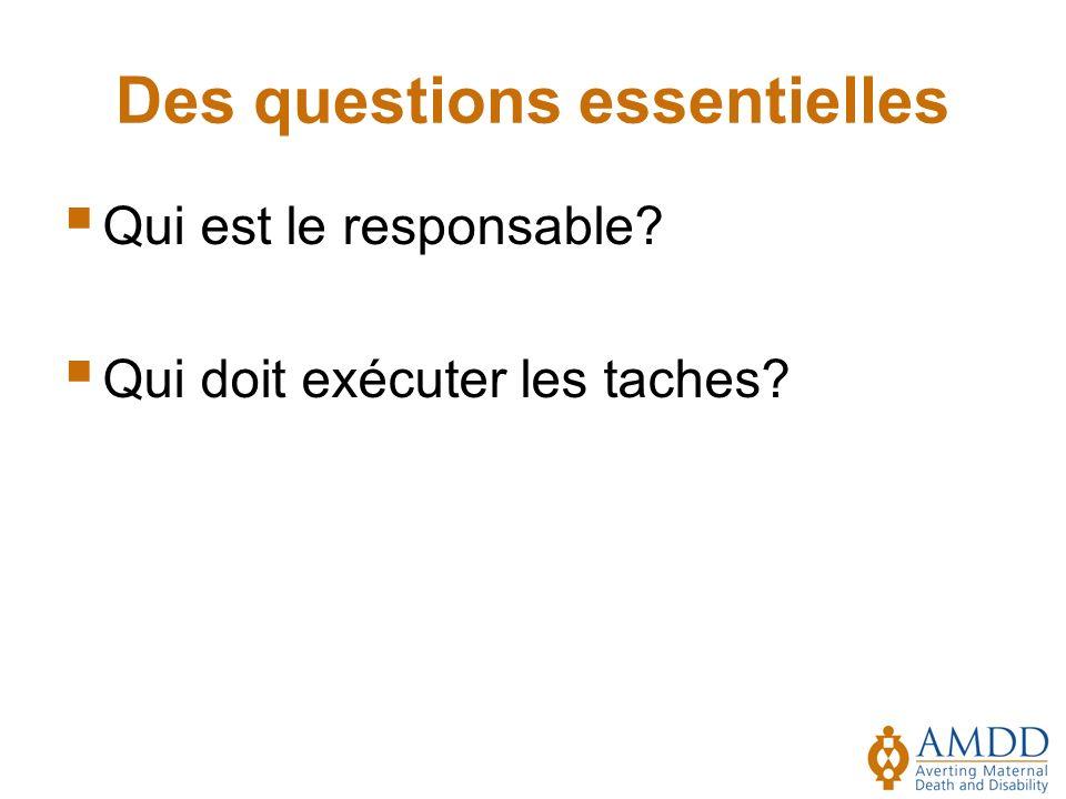 Des questions essentielles Qui est le responsable? Qui doit exécuter les taches?