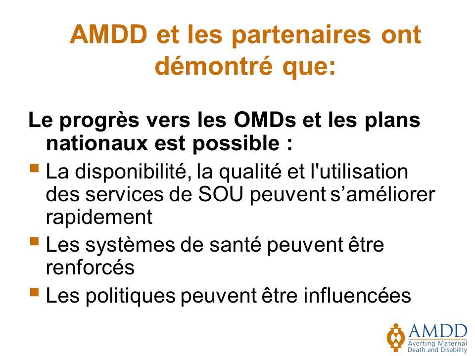 Le progrès vers les OMDs et les plans nationaux est possible : La disponibilité, la qualité et l utilisation des services de SOU peuvent saméliorer rapidement Les systèmes de santé peuvent être renforcés Les politiques peuvent être influencées AMDD et les partenaires ont démontré que: