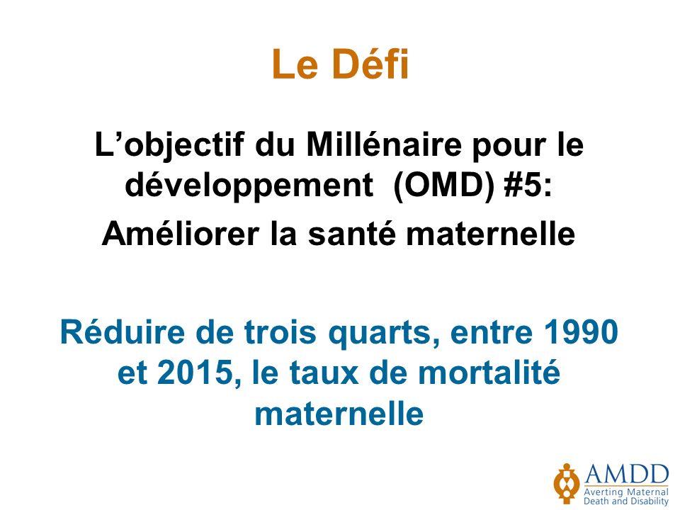 Le Défi Lobjectif du Millénaire pour le développement (OMD) #5: Améliorer la santé maternelle Réduire de trois quarts, entre 1990 et 2015, le taux de mortalité maternelle