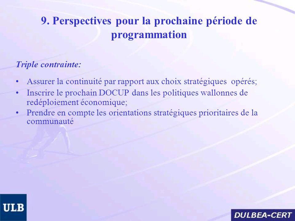 9. Perspectives pour la prochaine période de programmation Triple contrainte: Assurer la continuité par rapport aux choix stratégiques opérés; Inscrir