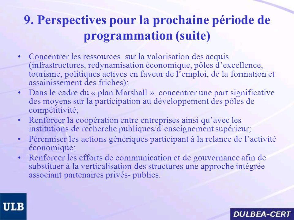 9. Perspectives pour la prochaine période de programmation (suite) Concentrer les ressources sur la valorisation des acquis (infrastructures, redynami