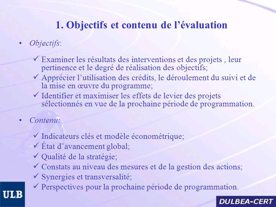 1. Objectifs et contenu de lévaluation Objectifs: Examiner les résultats des interventions et des projets, leur pertinence et le degré de réalisation