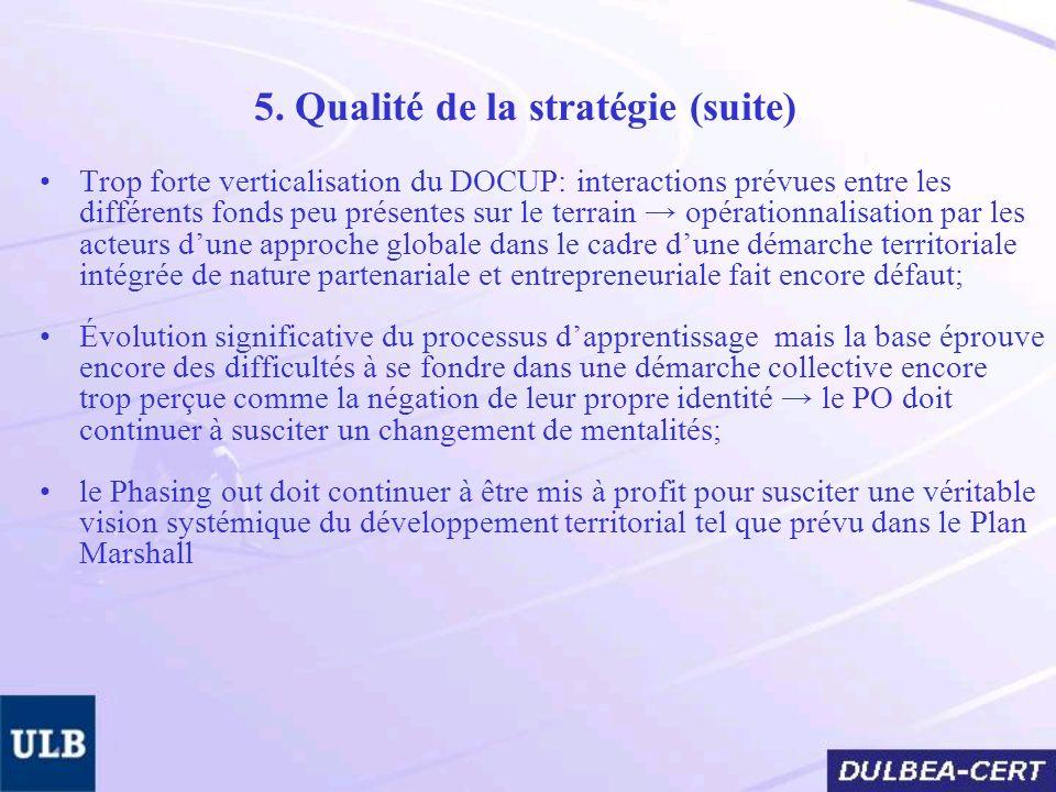 5. Qualité de la stratégie (suite) Trop forte verticalisation du DOCUP: interactions prévues entre les différents fonds peu présentes sur le terrain o