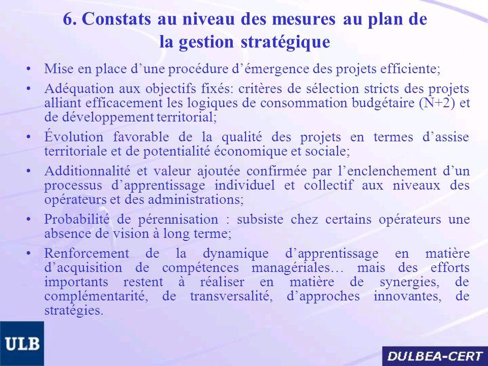 6. Constats au niveau des mesures au plan de la gestion stratégique Mise en place dune procédure démergence des projets efficiente; Adéquation aux obj