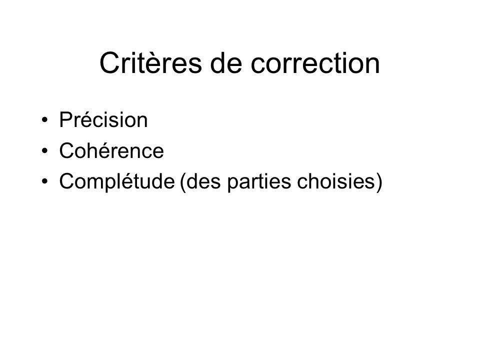 Critères de correction Précision Cohérence Complétude (des parties choisies)
