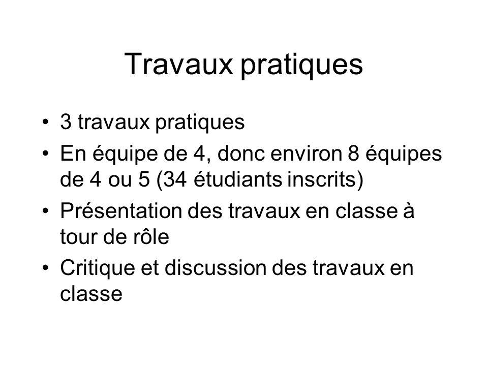 Travaux pratiques 3 travaux pratiques En équipe de 4, donc environ 8 équipes de 4 ou 5 (34 étudiants inscrits) Présentation des travaux en classe à tour de rôle Critique et discussion des travaux en classe