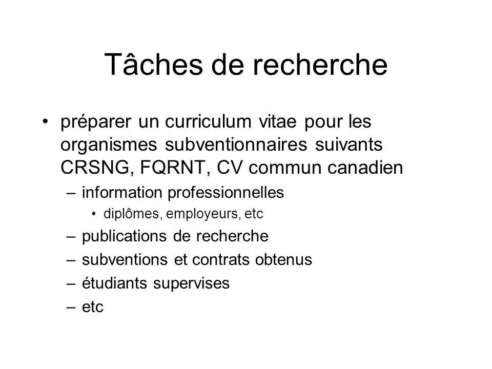 Tâches de recherche préparer un curriculum vitae pour les organismes subventionnaires suivants CRSNG, FQRNT, CV commun canadien –information professionnelles diplômes, employeurs, etc –publications de recherche –subventions et contrats obtenus –étudiants supervises –etc