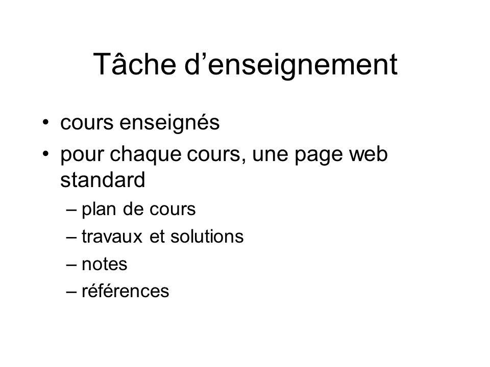 Tâche denseignement cours enseignés pour chaque cours, une page web standard –plan de cours –travaux et solutions –notes –références