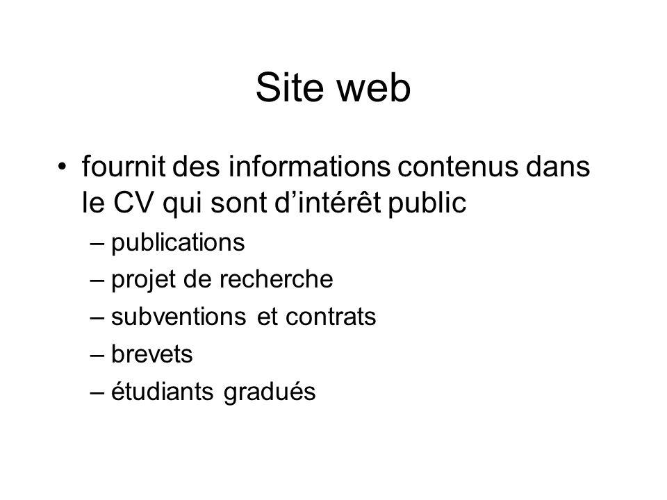 Site web fournit des informations contenus dans le CV qui sont dintérêt public –publications –projet de recherche –subventions et contrats –brevets –étudiants gradués